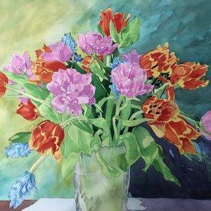 Orange Blue and Pink Bouquet - resized